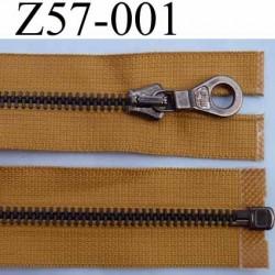 fermeture éclair haut de gamme superbe longueur 57 cm couleur marron clair séparable largeur 3.3 cm glissière métal largeur 6 mm