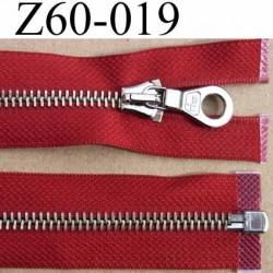 fermeture éclair haut de gamme longueur 60 cm couleur rouge bordeau séparable largeur 3.3 cm glissière métal largeur 6 mm