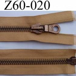 fermeture éclair haut de gamme marque RIRI longueur 60 cm couleur marron séparable largeur 3.7 cm glissière métal largeur 8 mm