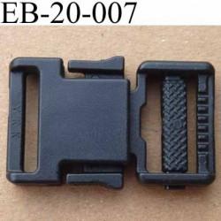 boucle clip YKK en plastique noir passage pour une sangle de 20 mm de largeur