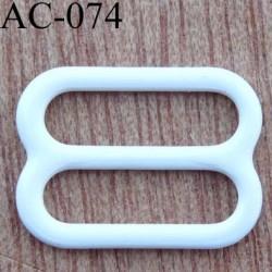 boucle de réglage réglette métal plastifié blanc brillant  pour soutien gorge longueur 12 mm vendu à l'unité haut de gamme