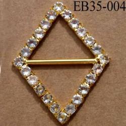 Boucle étrier losange en métal et plastique chromé doré largeur 3.5 cm hauteur 4.5 cm passage 22 mm avec strass façon diamant