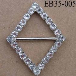 Boucle étrier losange en métal chromé argenté largeur 3.5 cm hauteur 4.5 cm passage intérieur 22 mm avec strass façon diamant