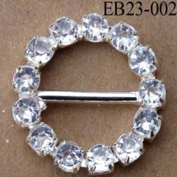 Boucle étrier rond en métal chromé argenté diamètre 2.3 cm passage intérieur 14 mm avec strass façon diamant