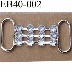 Boucle étrier brandebourg en métal chromé argenté largeur 4 cm hauteur 1.9 cm passage intérieur 16 mm avec strass façon diamant