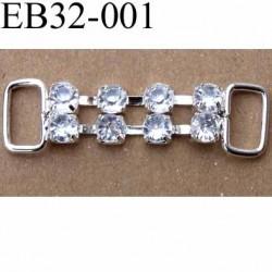 Boucle étrier brandebourg en métal chromé argenté largeur 3.2 cm hauteur 9 mm passage intérieur 7 mm avec strass façon diamant