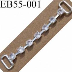 Boucle étrier brandebourg en métal chromé argenté largeur 5 cm hauteur 10 mm passage intérieur 7 mm avec strass façon diamant