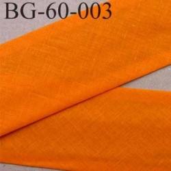 biais ruban galon a plat plié 60 +10+10 mm en coton couleur orange largeur 6 cm plus 2 fois 10 mm vendue au mètre