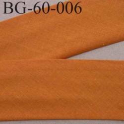 biais ruban galon a plat plié 60 +10+10 mm en coton couleur orange foncé largeur 6 cm plus 2 fois 10 mm vendue au mètre