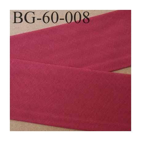 biais ruban galon a plat plié 60 +10+10 mm en coton couleur bordeau largeur 6 cm plus 2 fois 10 mm vendue au mètre