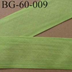 biais ruban galon a plat plié 60 +10+10 mm en coton couleur vert anis largeur 6 cm plus 2 fois 10 mm vendue au mètre