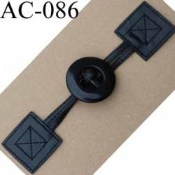 brandebourg simili cuir couleur noir fermeture bouton longueur 20 cm vendu à l'unité
