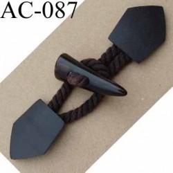 brandebourg simili cuir et coton couleur marron style duffle coat longueur 16 cm vendu à l'unité