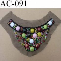 plastron guipure perles multicolores brillantes sur tulle noir vendu à l'unité
