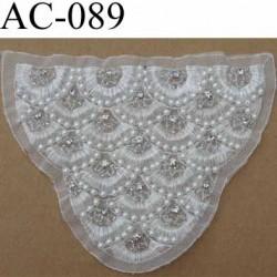 plastron guipure style retro perles et strass sur tulle blanc vendu à l'unité