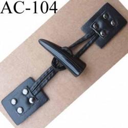 brandebourg simili cuir couleur noir style duffle coat longueur 15 cm vendu à l'unité