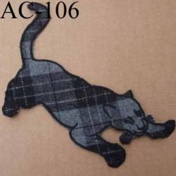 ornement emblème écusson empiècement guipure panthère à coudre couleur noir et gris