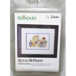 kit à broder tedinours LES JEUX DE TEDINOURS 13 X 19 cm royal paris réf 9880.6430.0076