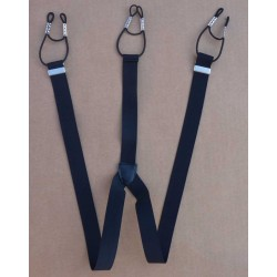 Bretelles noir a boutons largeur 2.5 centimètres longueur avec le réglage du passant environ entre 65 cm et 90 cm