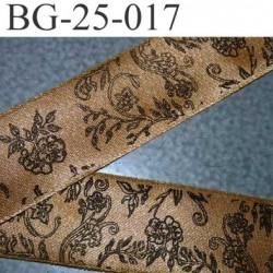 biais galon ruban satin CHRISTIAN LACROIX couleur or doré et motifs à fleurs noir superbe largeur 25 mm vendu au mètres