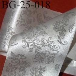 biais galon ruban satin CHRISTIAN LACROIX couleur argent brillant et motifs à fleurs gris superbe largeur 25 mm vendu au mètres