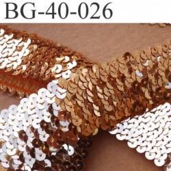 biais galon ruban élastique couleur or brillant  strass en forme de disque rond sequin brillant largeur 40 mm vendu au mètre