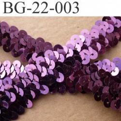 biais galon ruban élastique couleur prune violet brillant strass  disque rond sequin brillant largeur 25 mm vendu au mètre