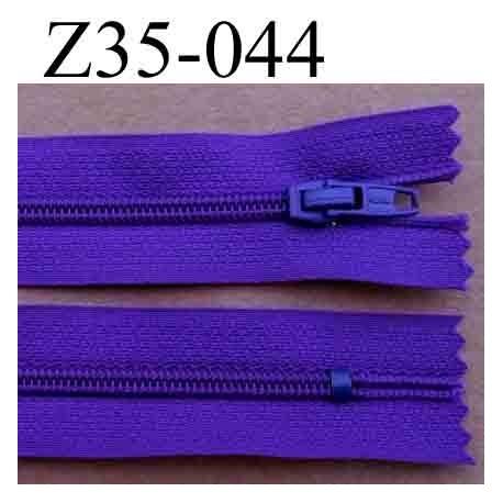 fermeture éclair longueur 35 cm couleur violet foncé non séparable largeur 2.5 cm glissière en nylon largeur 4 mm curseur métal
