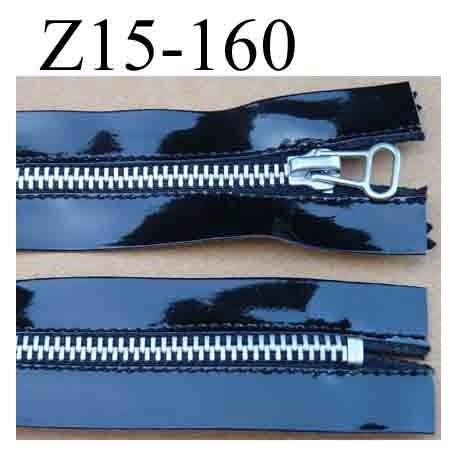 fermeture éclair façon latex longueur 15 cm couleur noir brillant  non séparable zip métal largeur 3.7 cm largeur du zip 6 mm