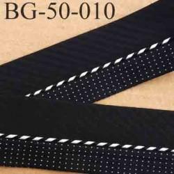 sangle biais ruban gallon haut de gamme couleur noir et blanc avec points et lien  largeur 5 cm souple  très solide incassable