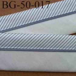 sangle biais ruban gallon haut de gamme couleur écru et gris rayures en satin largeur 5 cm souple très solide incassable