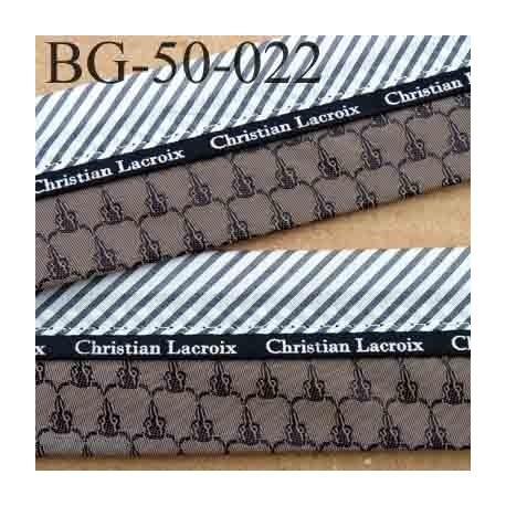 sangle biais ruban CHRISTIAN LACROIX couleur  bronze satin et gris a rayures coton largeur 5 cm souple hyper solide incassable