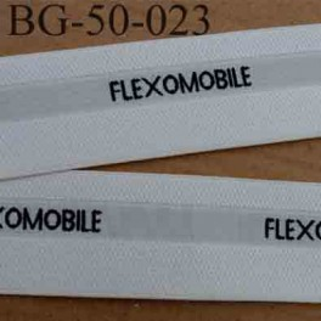sangle ruban gallon élastique haut de gamme FLEXOMOBILE 20 % d'élasticité couleur blanc écru et noir largeur 5 cm souple