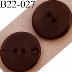 bouton 22 mm couleur bronze brillant tirant sur le noir  pvc 4 trous diamètre 22 mm