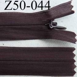 fermeture éclair invisible longueur 50 cm couleur marron non séparable largeur 2.2 cm glissière nylon largeur 4 mm