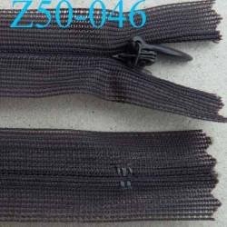 fermeture éclair invisible longueur 50 cm couleur gris non séparable largeur 2.2 cm glissière nylon largeur 4 mm