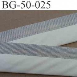 sangle biais ruban couleur écru blanc et gris a rayures en coton largeur 5 cm souple hyper solide