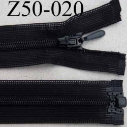 fermeture 50 cm noir invisible séparable largeur 2.5 cm zip nylon largeur 4.5 mm