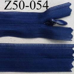 fermeture éclair invisible longueur 50 cm couleur bleu non séparable largeur 2.3 cm glissière nylon largeur 4 mm