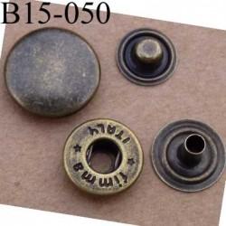 bouton pression métal nickel couleur laiton bronze diamètre 15 mm ensemble de 4 pièces par bouton