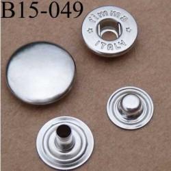 bouton pression métal nickel couleur argent chromé diamètre 15 mm ensemble de 4 pièces par bouton
