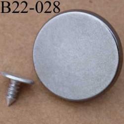 bouton 22 mm à clipser en métal chromé avec le clou facile à posé 22 millimètres