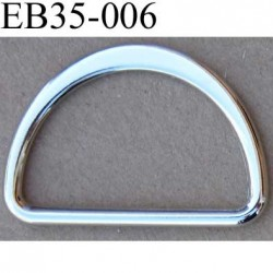 Boucle etrier anneau demi rond métal couleur chromé brillant largeur extérieur 3.5 cm intérieur 3 cm hauteur 2.5 cm