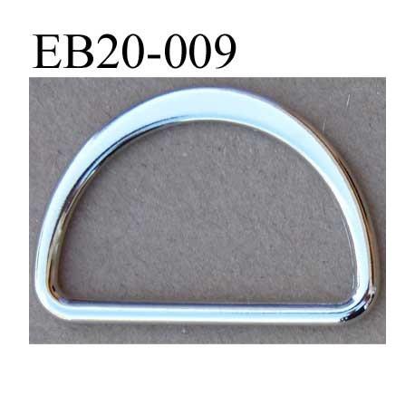 Boucle etrier anneau demi rond métal couleur chromé brillant largeur extérieur 2 cm intérieur 1.5 cm hauteur 1.3 cm