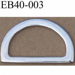 Boucle etrier anneau demi rond métal couleur chromé brillant largeur extérieur 4 cm intérieur 3.1 cm hauteur 2.5 cm