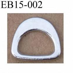 Boucle étrier demi rond métal chromé argenté largeur extérieur 15 mm intérieur 10 mm iédal sangle de 10mm hauteur 12 mm