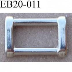 Boucle etrier anneau rectangulaire métal couleur chromé brillant largeur extérieur 2 cm intérieur 1.3 cm hauteur 1.2 cm