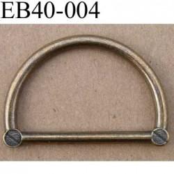 Boucle etrier anneau demi rond style ancien métal couleur laiton largeur extérieur 4 cm intérieur 3.2 cm hauteur 2.6 cm