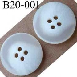 bouton 20 mm couleur blanc et blanc cassé 4 trous diamètre 20 mm