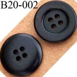 bouton 20 mm couleur pvc noir 4 trous diamètre 20 mm